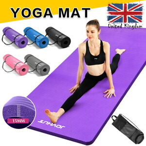 15MM Thick Yoga Mat Gym Workout Fitness Pilates Wome Exercise Mat Non Slip UK