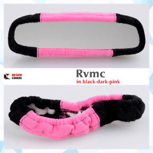 Rear View Mirror Cover Hot Pink & Black Velvet