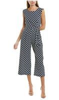 Tahari Jumpsuit by ASL Women's Geometric Pebble Crepe Basket Weave Size 10