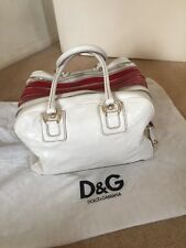 Designer Authentic D&G Lily Large White/Red Leather Multi Zip Bag Excellent Cond