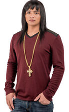 Real Mens Cool Steel Necklace Long Chain 18K Gold Filled Cross Jesus Pendant