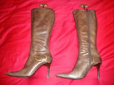 FAITH Brown Nubuck Leather Knee High Boots Size UK 8 / EU 41