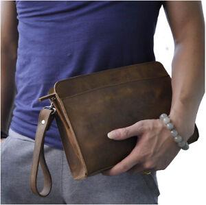 Men Genuine Leather Briefcase Wrist Clutch Handbag Sling Messenger Bag Organizer