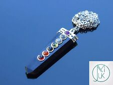 Black Obsidian 7 Chakra Flat Natural Gemstone Pendant Necklace 50cm Healing