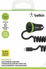 Belkin UltraFast 3.4 AMP Micro USB Car charger coiled for S7 S6 edge S5 Note Tab
