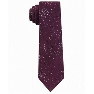 Calvin Klein Men's Metallic Speckled Dots Silk Skinny Neck Tie Burgundy