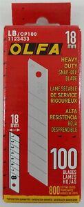 Olfa LB/CP100 Heavy Duty 18mm Black Ultra-Sharp Snap-Off Blades - 100 Pack