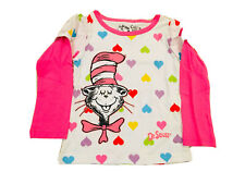 Dr Seuss Girl Size 2T Longsleeve Shirt Pink White Hearts Shaped
