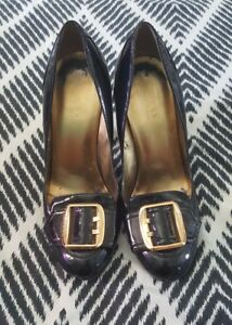 GUESS Black Gold Patent  Stilettos Pumps Formal Wedding High Heels 8.5 B49
