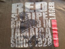 VINTAGE RED STRIPE BEER BROWN T SHIRT LARGE