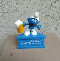 """Peyco Vintage Schleich Smurf  """"CONGRATULATIONS I'LL DRINK TO THAT""""! 1975"""
