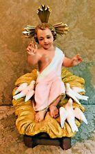 "14"" Vintage Plaster Baby Jesus in Manger w/ Glass Eyes & Doves Creche"