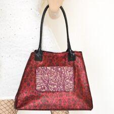 SAC femme rouge noir vrai cuir léopard shopper made italy fourre-tou сумка B05