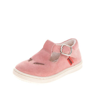 KICKERS Baby Suede Leather Flat Shoes EU 21 UK 4.5 US 5.5 Cut Out Made in Italy