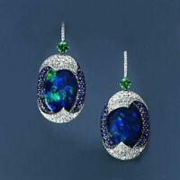 925 Silver Real Blue Opal Sapphire Woman Ear Hook Hoop Earrings Wedding Jewelry