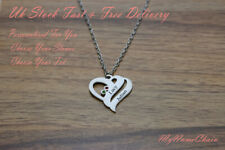2e84e0032 Personalised Love Heart Necklace 2 Names Birthstones Silver Jewellery Gift  UK