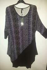 TAKING SHAPE TS POLITIC TUNIC DRESS NWT SIZE 12 PURPLE BLACK SNAKE PRINT