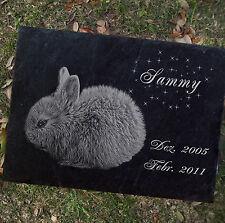 TIERGRABSTEIN Grabstein Grabmal Kaninchen Hase-002 ►LASER- Textgravur◄20 x 15 cm