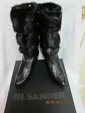 Jil Sander Fur Cuff Tall Boots / Black / 35/5