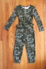 Justice Girls' Snuggly Soft Green Camo Long Sleeve Jumpsuit with Belted Waist