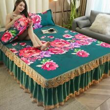 Floral Printing Soft Bed Skirt And Pillowcase Set King Queen Twin Size Bedspread