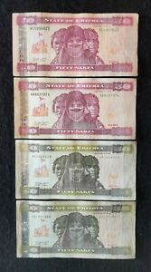 ERITREA: 4 x 50 Eritrea Nakfa Banknotes.