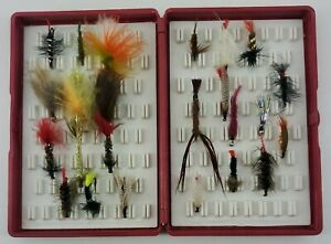 Fly fishing Flies and Maroon Colored Fox Box Fly Box With Collection of 24 Flies