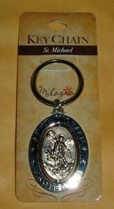 ST SAINT MICHAEL ARCHANGEL REVOLVING KEYCHAIN NEW Protector Church Virgins etc