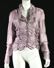 GIORGIO ARMANI Lilac Silk Satin & Sheer Crepe Striped Ruched Blouse 46