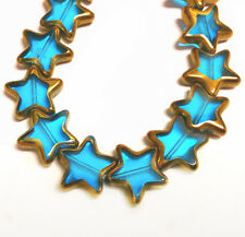 12pc 16mm copper plated flat star shape glass beads-FR11
