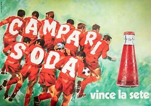 Original Vintage Poster - Pijoan - Campari Soda - Soccer - Liquor - circa 1970