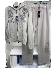 Vertigo Taupe Sweat Suit Set-Zip Hoodie Drawstring Pants Medium NWT