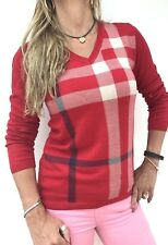STUNNING BURBERRY CHECK SILK BLEND FITTED V NECK SWEATER UK 12