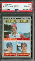 1970 Topps #72 A.L SO Ldrs. McDowell/Lolich/Messersmith PSA 8 NM-MT