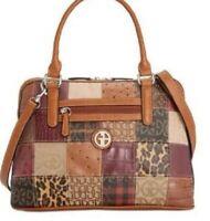 NWT💋Giani Bernini Patchwork Leather Dome Shoulder Bag Satchel, Woven Jacquard