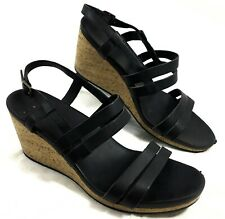 33acfc30cf56f9 GUC Teva Arrabelle Cork Wedge Sandal Slingback Black leather Sz 10.5