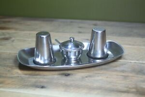 Vintage Mid Century Salt & Pepper Tray Condiment Pot Stainless Steel Bird Brand