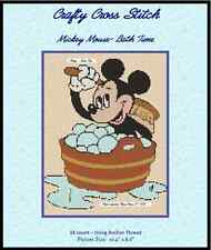 """Counted Cross Stitch MICKEY MOUSE """"Bath Time"""" - COMPLETE KIT #10-12 KIT"""