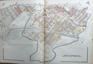 1929 DELAWARE COUNTY PA DARBY COLWYN & SHARON HILL BOROUGHS KLINGE ATLAS MAP