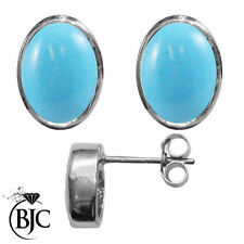 Turquoise Natural Sterling Silver Fine Earrings