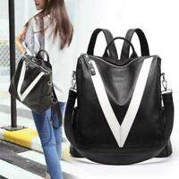 Women Leather Backpack Black With White Lines Casual Shoulder Bag