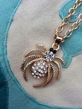 Bolsa De Regalo Gratis Chapado en Oro Cadena Collar de diamantes de imitación de cristal araña Joyas