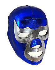 BLUE DEMON (LYCRA) Youth Wrestling Halloween Mask Lucha Libre (6yr -12yr) Blue