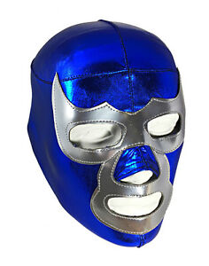 BLUE DEMON (LYCRA) Youth Wrestling Halloween Mask Lucha Libre - Blue