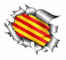 Clásico rasgada abierto Rasgado Metálica de extracción y calalonia catalán Bandera Pegatina de vinilo coche