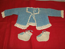 Vintage Baby Infant or Doll Hand Knit Crocheted Booties & Sweater