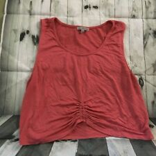Charlotte Russe Crop Tank Top Ruched Woman's XL Coral Festival Wear
