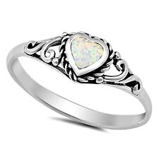 .925 Sterling Silver Ring size 9 Heart cut Opal Midi Ladies White New px54
