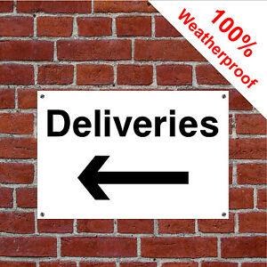 Deliveries with left arrow hotel safety sign HOT06 durable and weatherproof