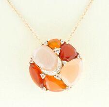 14K Pink Gold Natural Fine Stones Orange Moonstone Rose Quartz Red Agate Pendant